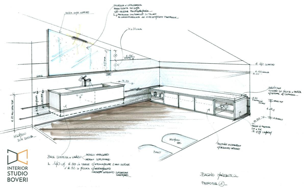 Arredamento bagno 01 mansarda prospettiva - Interior studio Boveri