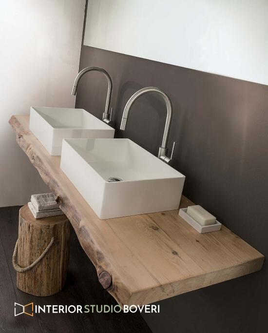Arredamento bagno 03 piano massello cirmolo - Interior studio Boveri