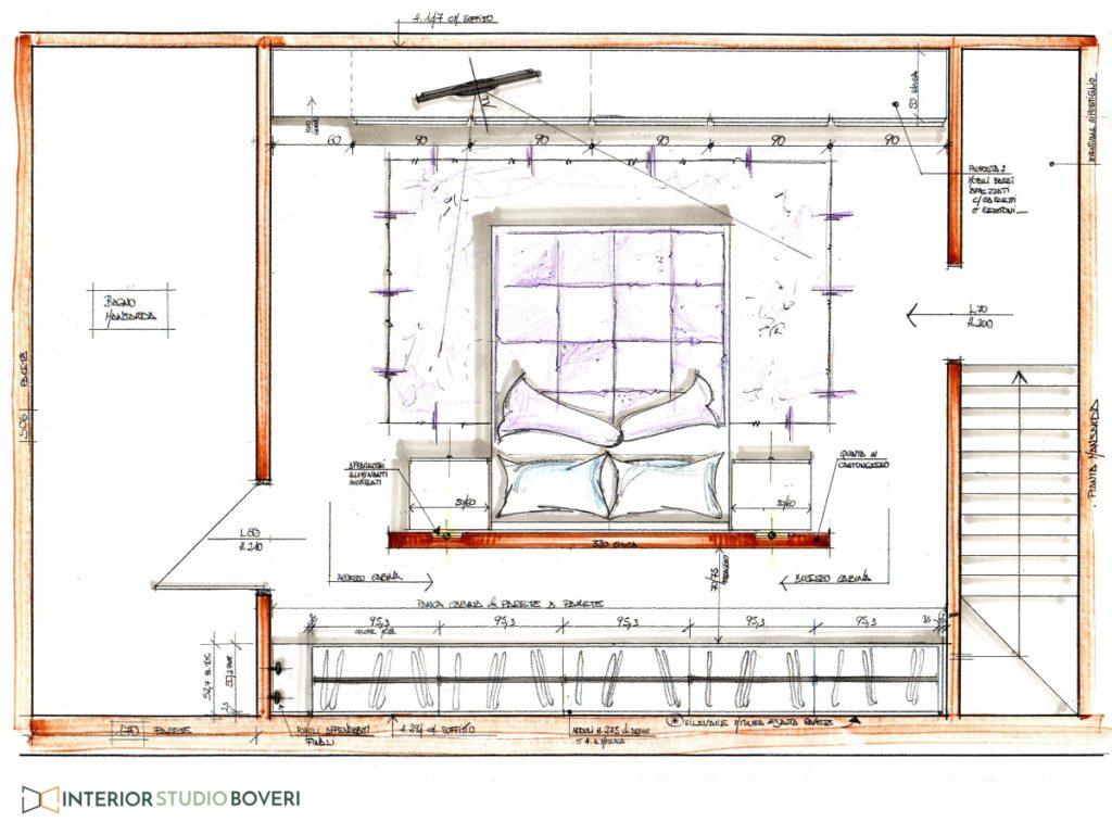 Arredamento camera 01 mansarda - layout arredo zona notte - Interior studio Boveri