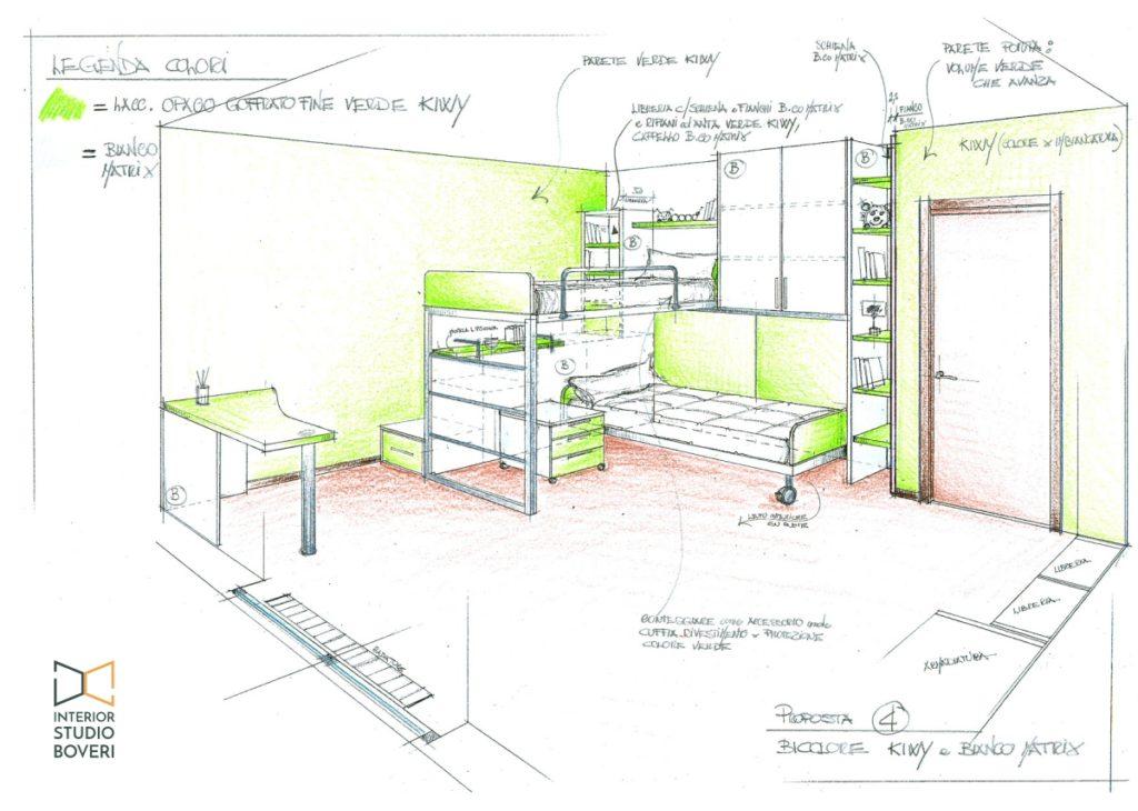 Arredamento cameretta 02 proposta colore 4 kiwi bianco matrix - Interior studio Boveri