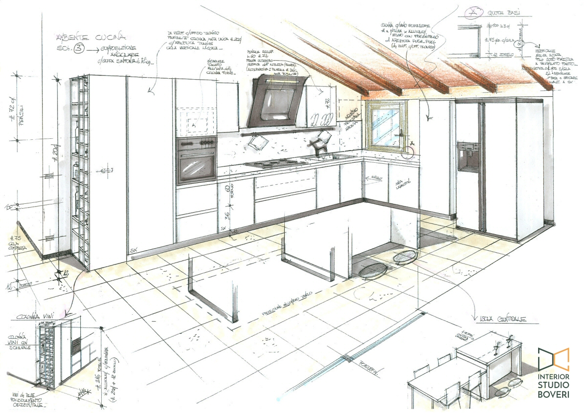 Arredamento cucina 01 - visione prospettica cucina Interior studio Boveri