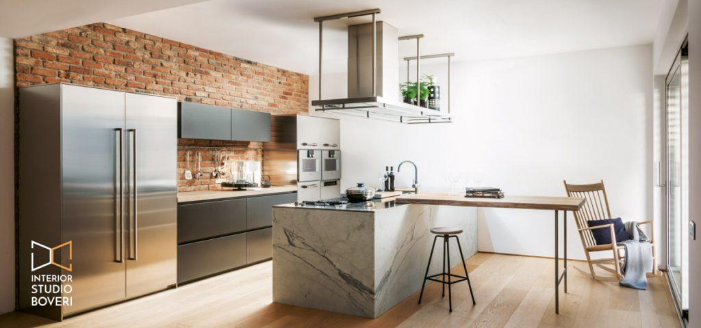 Arredamento cucina 03 acciaio massello marmo carrara - Interior studio Boveri