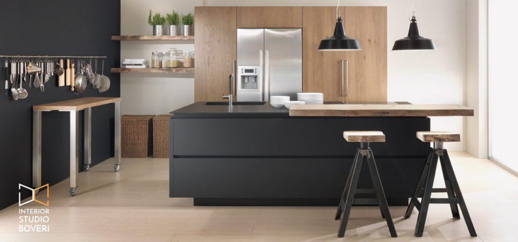 Arredamento cucina 04 rovere nodino tabacco e fenix nero - Interior studio Boveri