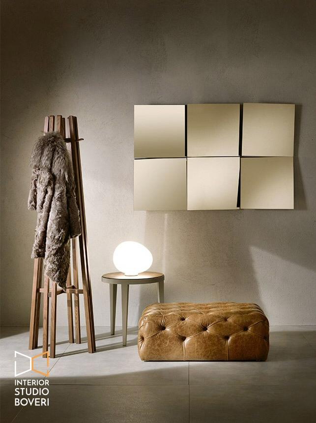 Arredamento ingresso 02 charme - coppia specchi quadrati inclinati - Interior studio Boveri