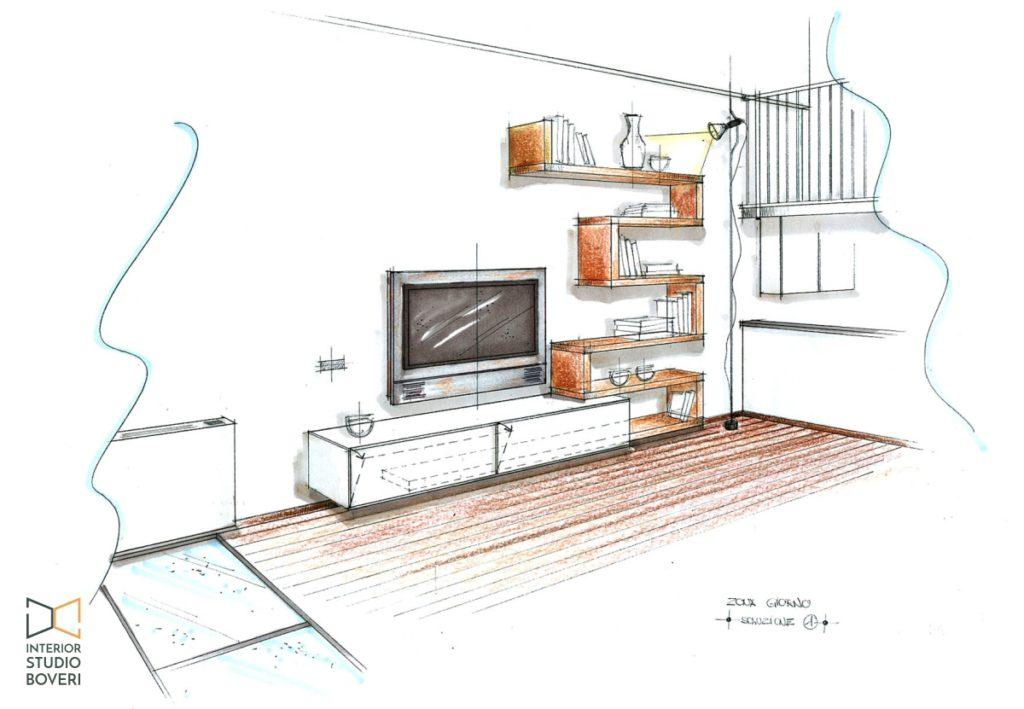 Arredamento soggiorno 01 prospettiva sol1 - Interior studio Boveri