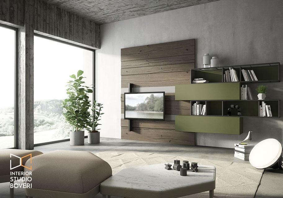 Arredamento soggiorno 02 rebel quercia 75G composizione cenere bosco - Interior studio Boveri