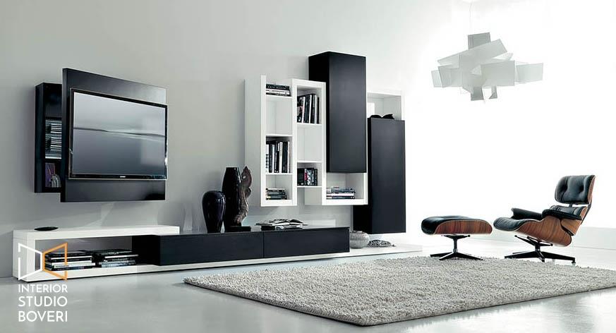 Arredamento soggiorno 03 side laccato nero laccato bianco - portatv rack orient - Interior studio Boveri