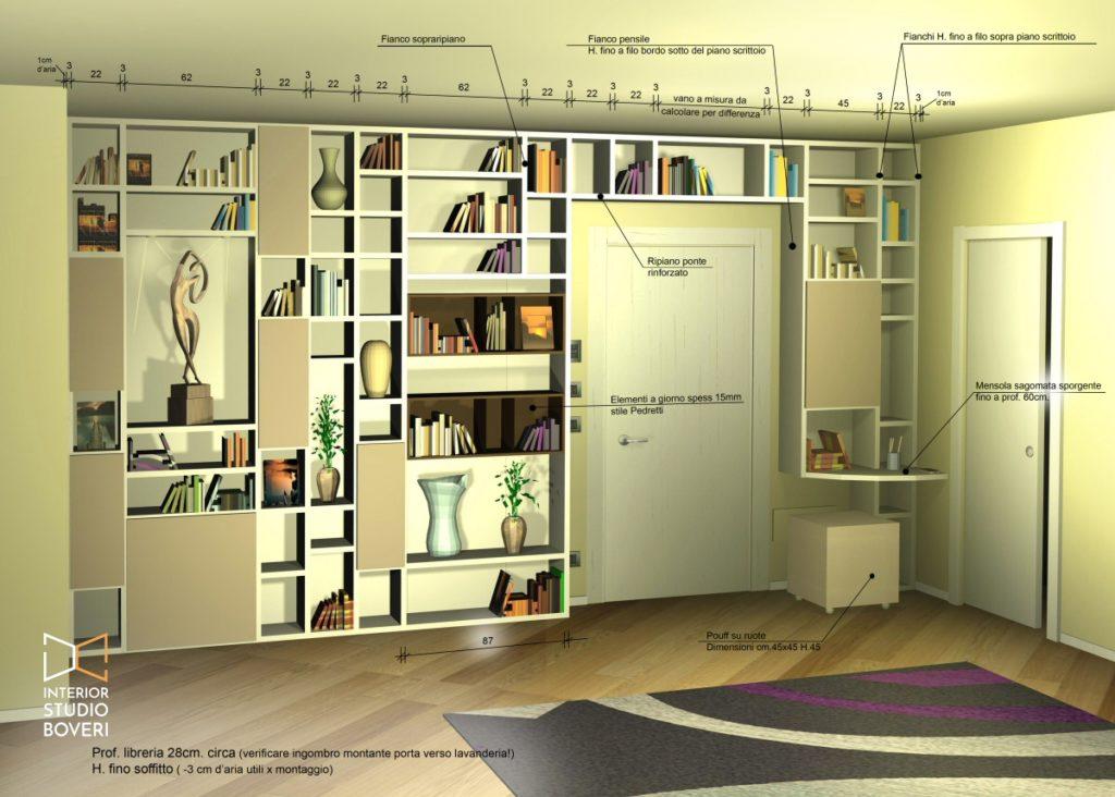 Complementi 01 libreria zona giorno con quote - Interior studio Boveri