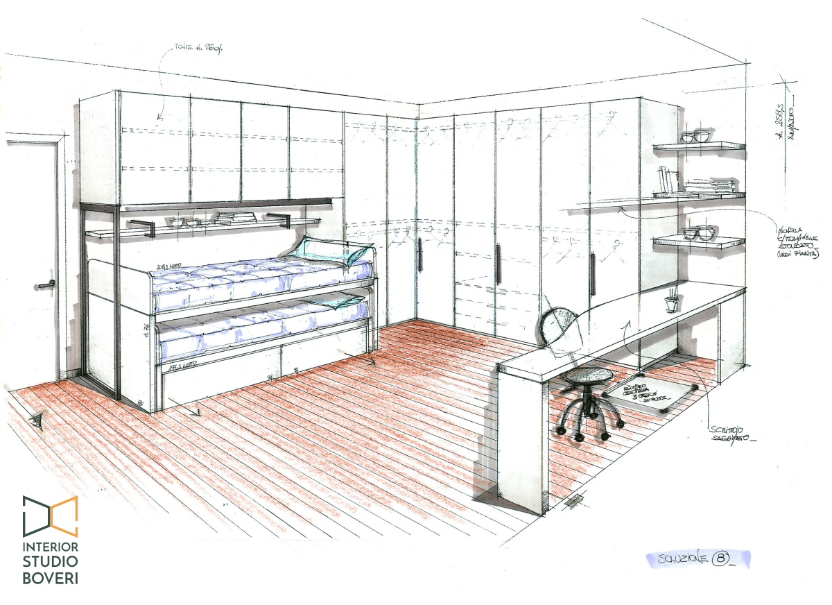 Preventivo cameretta 08 prospettiva armadio matrix - Interior studio Boveri