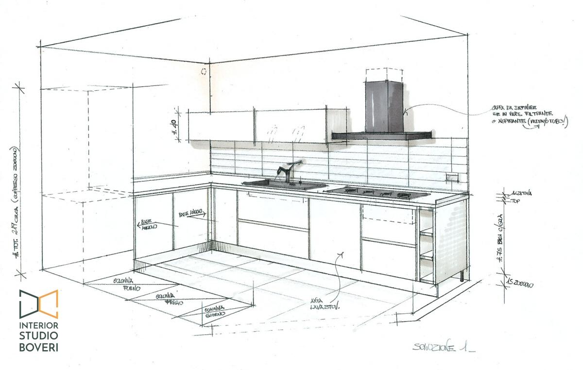 Preventivo cucina 23 prospettiva zona lavello - Interior studio Boveri