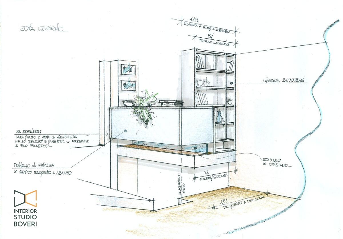 Peventivo zona giorno 04 prospettiva - Interior studio Boveri
