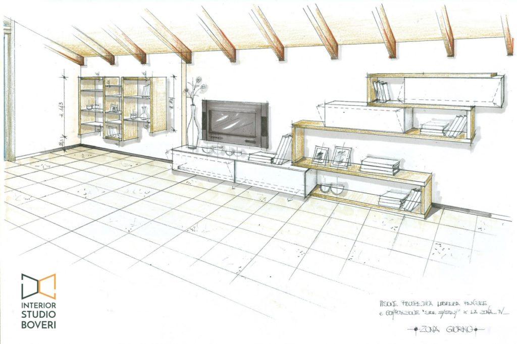 Preventivo zona giorno 17 prospettiva zona tv libreria pensile - Interior studio Boveri