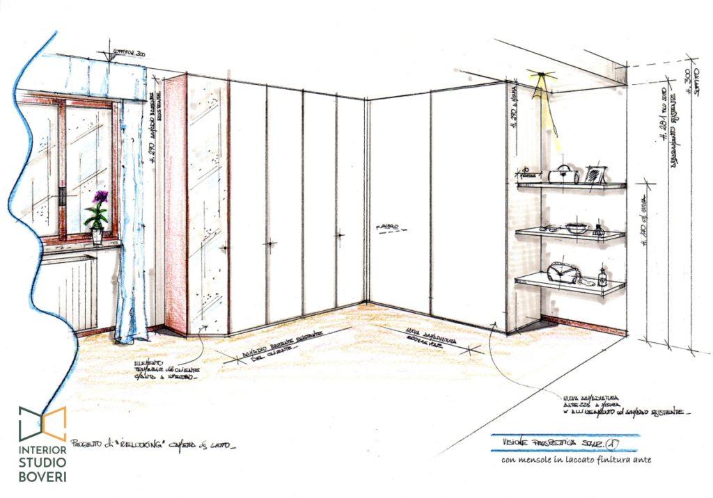 Relooking camera da letto 05 prospettiva - Interior studio Boveri