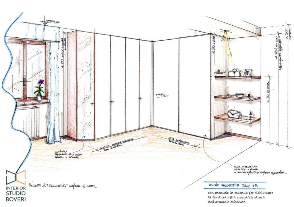 Relooking camera da letto 06 prospettiva - Interior studio Boveri
