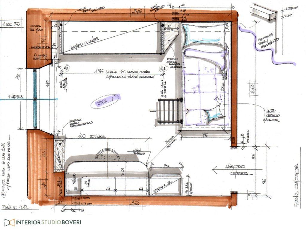 Relooking cameretta 04 pianta cameretta - Interior studio Boveri