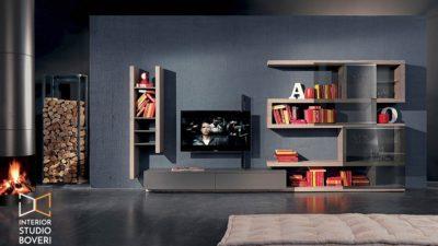 Arredamento soggiorno 18 side olmo zinco laccato ardesia vetro fume portatv flag - Interior studio Boveri